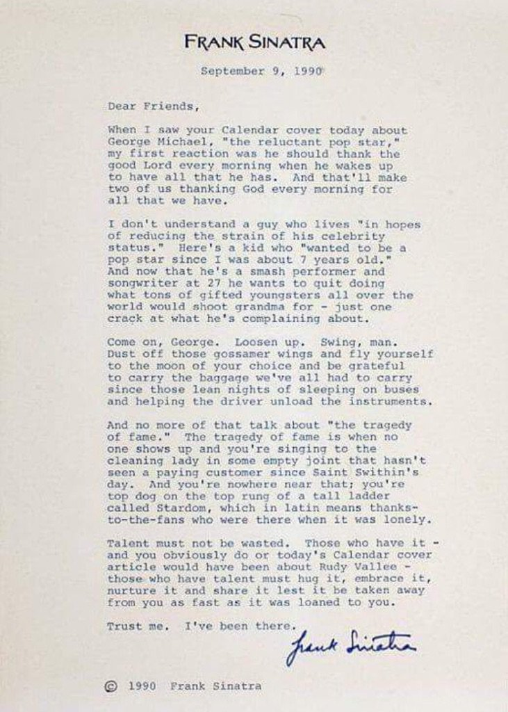 Frank Sinatra's Letter to George Michael (via LA Times